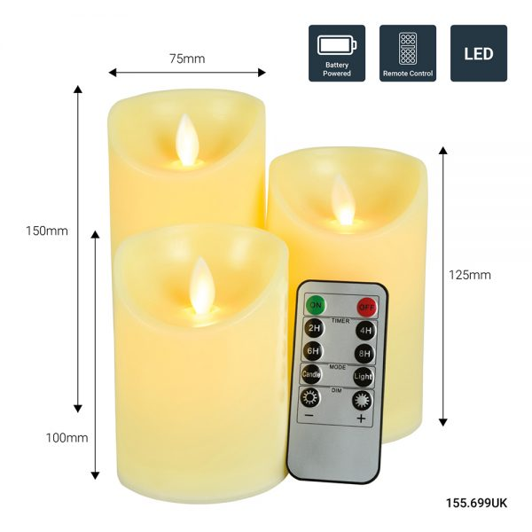 Set of 3 dancing flame LED wax effect candles with remote control