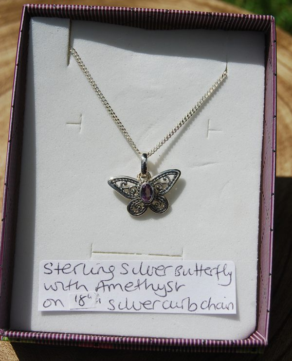 "Amethyst Butterfly Pendant on 18"" Silver 925 Curb Chain - CJF224"