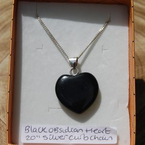 "Black Obsidian Heart Pendant on 20"" Silver 925 Curb Chain - CJF225"