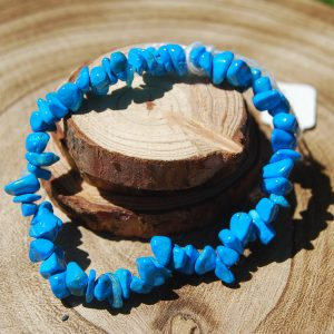 Blue Howlite Chip Elasticated Bracelet - CJF212