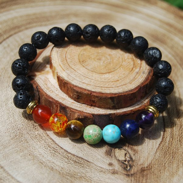 Chakra Crystal & Lava Bead Elasticated Bracelet - CJF201