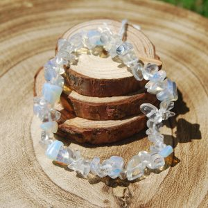 Clear Quartz Chip Elasticated Bracelet - CJF217
