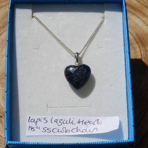 "Lapis Lazuli Heart on 18"" Silver 925 Curb Chain - CJF222"