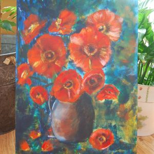 Orange Poppies in Vase - CJF658