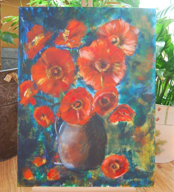 Orange Poppies in Vase - CJF658