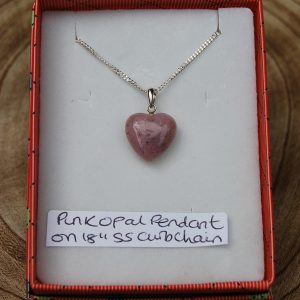 """Pink Opal Heart Pendant on 18"""" Silver 925 Curb Chain - CJF227"""