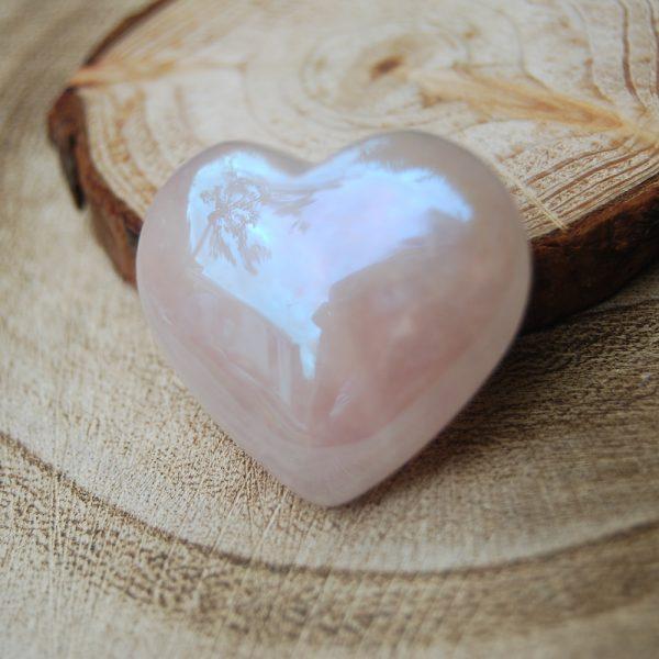 Polished Rose Aura Heart Crystal - CJF111