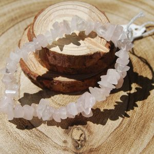 Rose Quartz Chip Elasticated Bracelet - CJF213