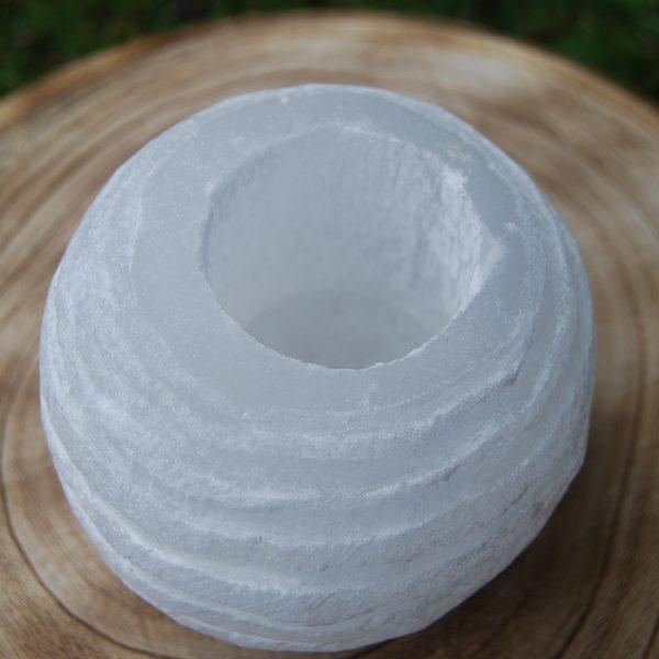 Selenite Crystal Round Candle Holder - CJF090