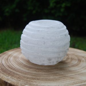 Selenite Crystal Round Candle Holder - CJF090