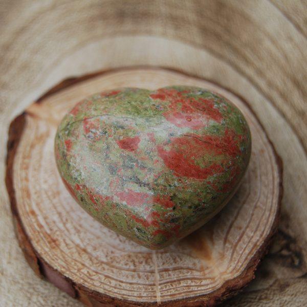 Polished Unakite Heart Crystal - CJF108