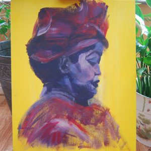 Yellow African Lady Portrait - CJF602