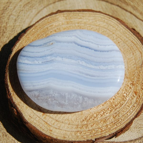 Blue Lace Agate Flatstone Pebble - CJF739